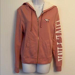 New Pink Sherpa lined Campus hoodie begonia